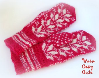 Hand Knitted Estonian Mittens, 100% Wool Fuchsia Pink White Mittens, Winter Accessories, Unique Gift for Her