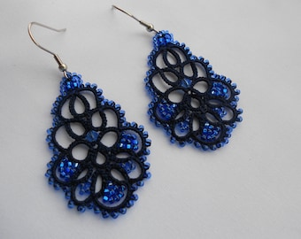 Blue earrings, tatted earrings, tatting jewellery, lace earrings, lace jewelry,  frivolitè, lightweight filigree