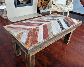 Hand Crafted Rustic Reclaimed Wooden Coffee Table - Handmade Multicoloured Wood Table