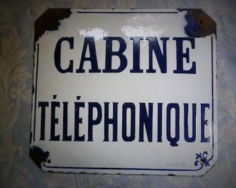 """Vintage French enamel sign """"Cabine téléphonique"""" genuine 1920's telephone cabin. Industrial Loft, Paris chic, authentic antique, Bombée!"""