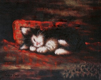 """Sleeping Kitten ART  Limited Edition Giclee Print of Original Oil Painting  """"Cat Nap""""  Red Pillow"""