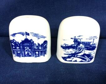 Vintage Porcelain Salt And Pepper Shaker Set Blue Mermaid Design Made In Holland