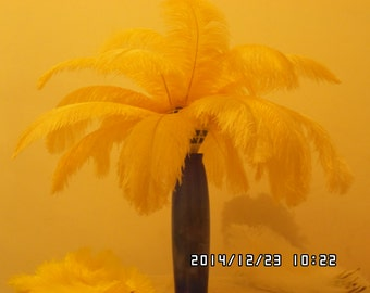 100pcs golden ostrich feather for wedding table centerpiece