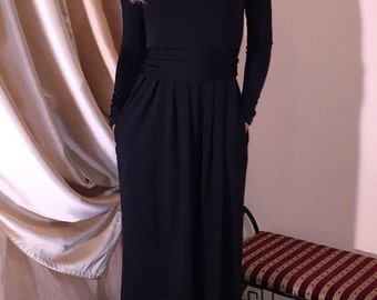 Black Maxi Dress Long Sleeves Pockets