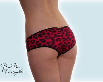 Leopard print hot pant panties briefs knickers lingerie underwear with scrunch back butt