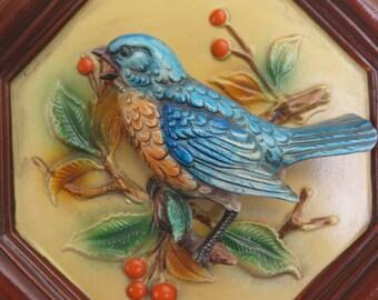 Beautiful vintage Napco Blue Bird wall plaque