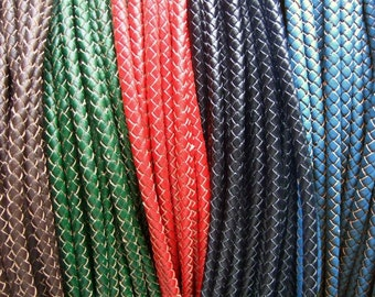 6mm Round Braided leather cord Genuine round leather strip , Bolo Leather Cord - DIY Craft Jewelry 1 Meter / 3 Meters