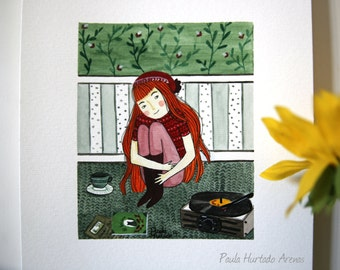 The Record player and the Red Girl - Illustration Print