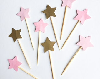 12 Pink and Metallic Gold Star Cupcake Toppers