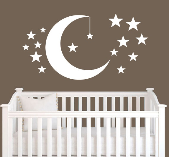 Moon and stars wall decal vinyl sticker by trendywalldecals for Amazing look with moon and stars wall decals