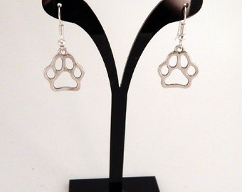 Paw Print Earrings, Paw Earrings, Silver Paw Print Earrings, Animal Earrings, Paw Print Charm, Dog Earrings, Cat Earrings, Paw Prints