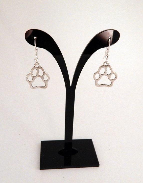 Silver Paw Cavachons: Paw Print Earrings Paw Earrings Silver Paw Print Earrings