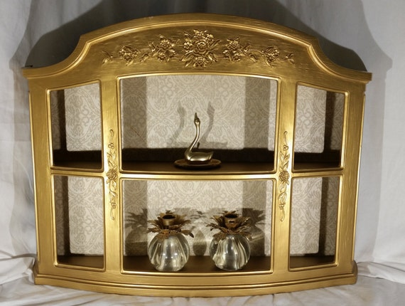 Vintage Gold Curio Cabinet Display Wall Shelf With Back Cover