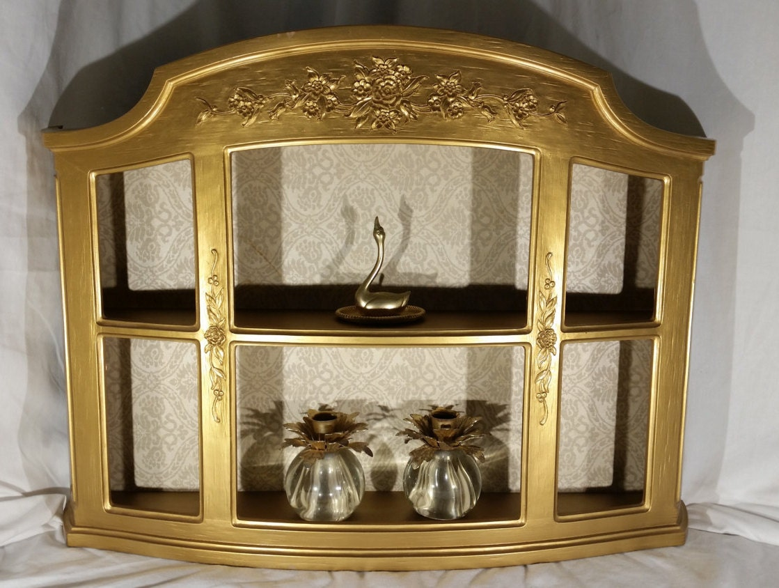 Vintage Gold Curio Cabinet Display Wall Shelf By VINTAGEnfinity