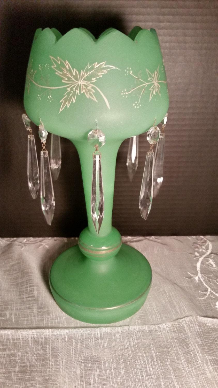 green satin lustre vintage bohemian mantle luster gilding 8. Black Bedroom Furniture Sets. Home Design Ideas