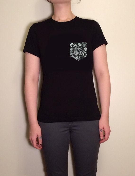 Urban streetwear t shirt with paisley bandana print pocket for Urban streetwear t shirts