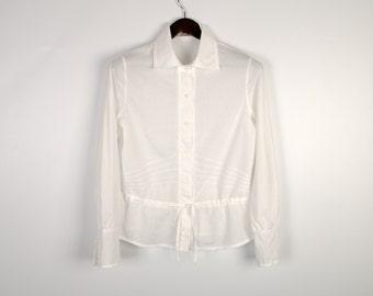 Vintage Cotton Blouse White Romantic Shirt Peasant Style Long Sleeve Size Large