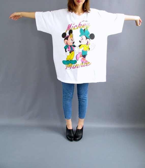 90s mickey minnie super oversized white t shirt 1990s for Oversized disney t shirts