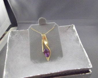 10kt Gold Amethyst Pendant Necklace with 18in. chain