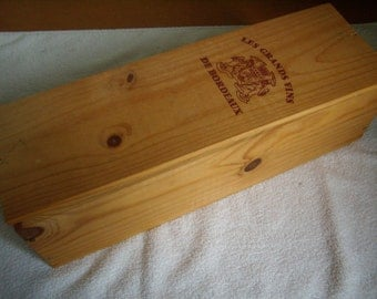 French wooden box. Wine crate. Bordeaux Magnum case. French wine Panel. French storage box. Magnum