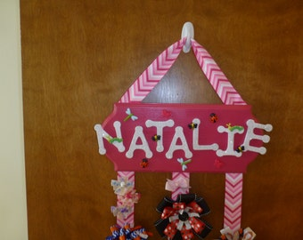 Made to Order Personalized Wooden Name Plate and Bow Holder