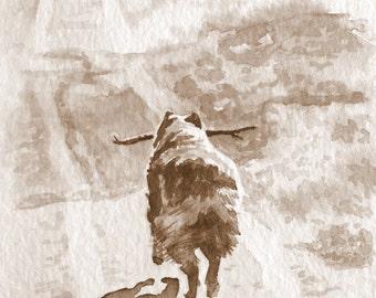 Australian Shepherd, Sepia Watercolor, Giclee Print, Rescue Dog Art, 8 x 10