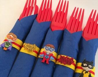 Superhero Flatware - Superhero Party Cutlery, Superhero Party Silverware, Superhero Supplies