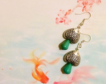 SALE-Tibetan Silver Fish earrings handmade with turquoise gem stone beads