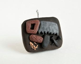 Carpentry Ornament -- Miniature Polymer Clay Jesse Tree Ornament -- Joseph