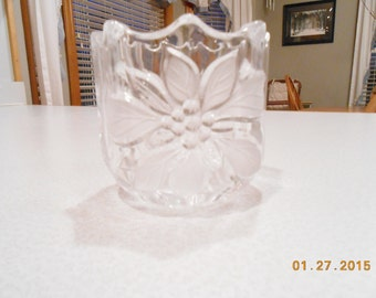 Vintage Mikasa Candle Holder Full Lead Crystal with Etched Floral Design / Glass Votive Holder Poinsettia Christmas