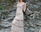 Maxi Skirt In Natural Beige / Long Woman Crochet Skirt / Amazing skirt