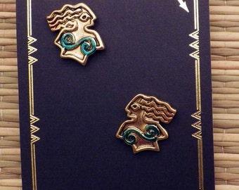 24K Gold Plated Patina Mermaids
