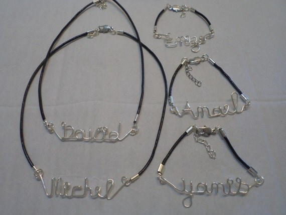 Necklace names and custom monograms men and women names cash - Prenom en fil de fer ...