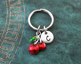 Red Cherries Keychain SMALL Cherry Keychain Personalized Keychain Fruit Keychain Bridesmaid Keychain Gambling Keychain Cherry Keyring