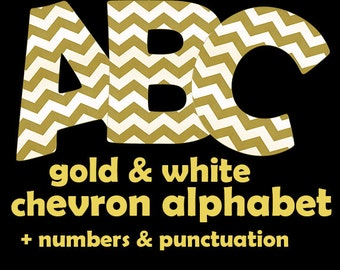 Gold and white chevron digital alphabet clipart with large and small letters, numbers and punctuation marks; for commercial use