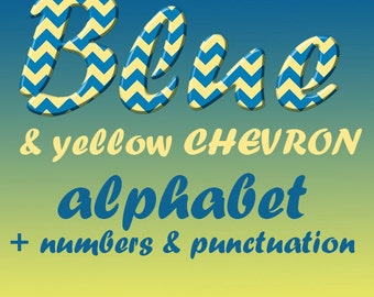 Blue and yellow chevron alphabet clipart, chevron font, capital and small letters, numbers and punctuation marks; for commercial use