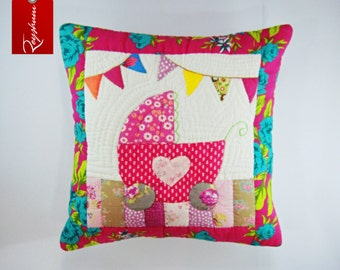 FREE SUMMER SHIPPING! Pram Applique Quilted Pillow - Cushion Covers - Throw Pillows - Kids Pillow - Decorative Pillows