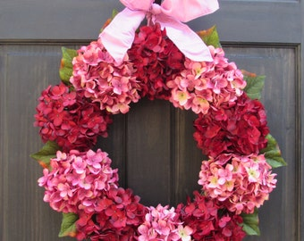 Valentine Wreath for Front Door, Wreath for Summer, Hydrangea Wreath, Red and Pink Wreath for Door Decoration, Valentines Day Porch Decor