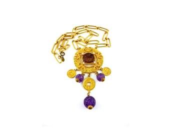 CADORO * Gorgeous Chinoiserie vintage sautoir necklace