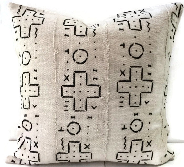 African Mud cloth Pillow Cover Ethnic Handwoven Black and