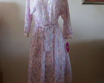 Vintage 70s/80s ALGO Periwinkle, Pink White Floral Lightweight Poly Cotton Dress Size 11 - M-733