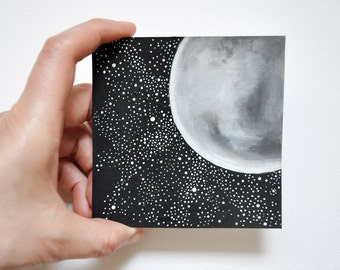 Night Landscape, Original, acrylic painting, Miniature fine art  , Astronomy Art, Moon , Stars, black and white, geometric