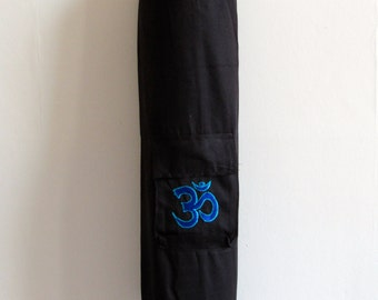 Yoga Mat Bag black Pilates Mat Bag Cotton Turquoise Blue Om Ohm Aum handmade Embroidered Adjustable carry strap  with or without pocket