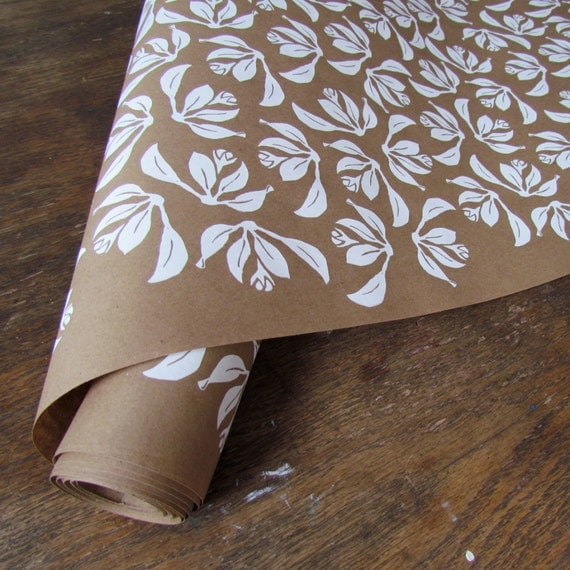 Floral wrapping paper white wrapping paper by bonniekayestudio for Decorative paper rolls