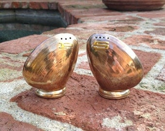 Copper and Gold Clam Shell Salt and Pepper Shakers Vintage