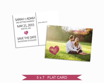 Save the Date Template - 5x7 Digital Photography Photoshop Files - Template for Photographers - EM02 - INSTANT DOWNLOAD