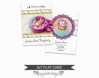 Birth Announcement Card Template - 5x7 Digital Photography Photoshop File - Template for Photographers - NC21 - INSTANT DOWNLOAD