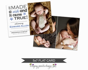 Birth Announcement Card Template - Adoption Announcement - Photoshop File for Photographers - AC02 - DOWNLOAD OR Printable