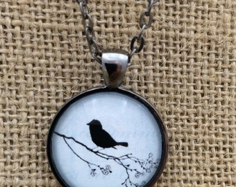 Bird on a Branch - Glass Pendant Necklace with Chain - Light Blue- Mother's Day Gift, Friend Gift, birthday gift, Easter Gift,