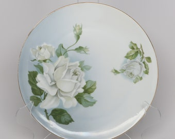 """1940's Z S & Co. Bavaria, Porcelain, White rose on Blue Shaded Background with Green Leaves, 8 1/2"""" Plate"""
